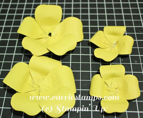 Bouquet bigz yellow flower carrie stamps layers your flowers starting with the first 5 point flower you made glueing the second 5 point flower to the top of it off setting the petals so they mightylinksfo