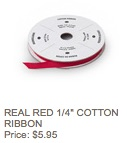 Real red cotton ribbon