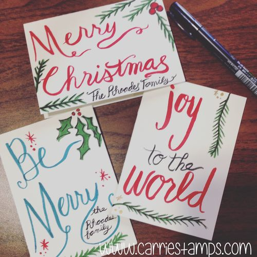 hand lettered christmas card carrie stamps