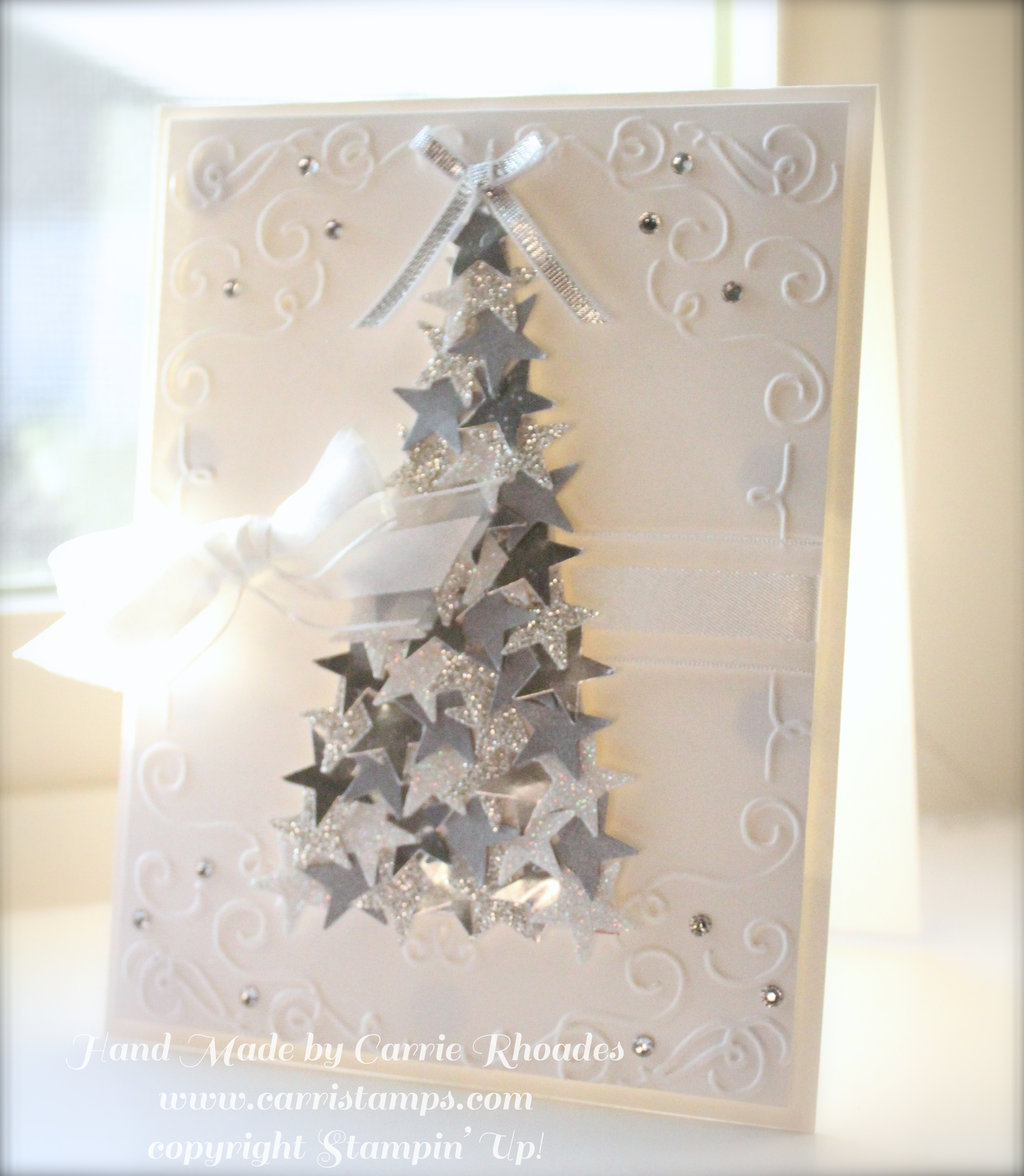 Silver star christmas tree card carrie stamps cards silver star christmas tree card kristyandbryce Images