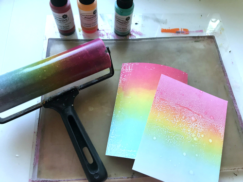 Liquid Colors on Gel Press rainbow