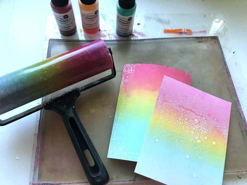 Liquid Colors on Gel Press rainbow
