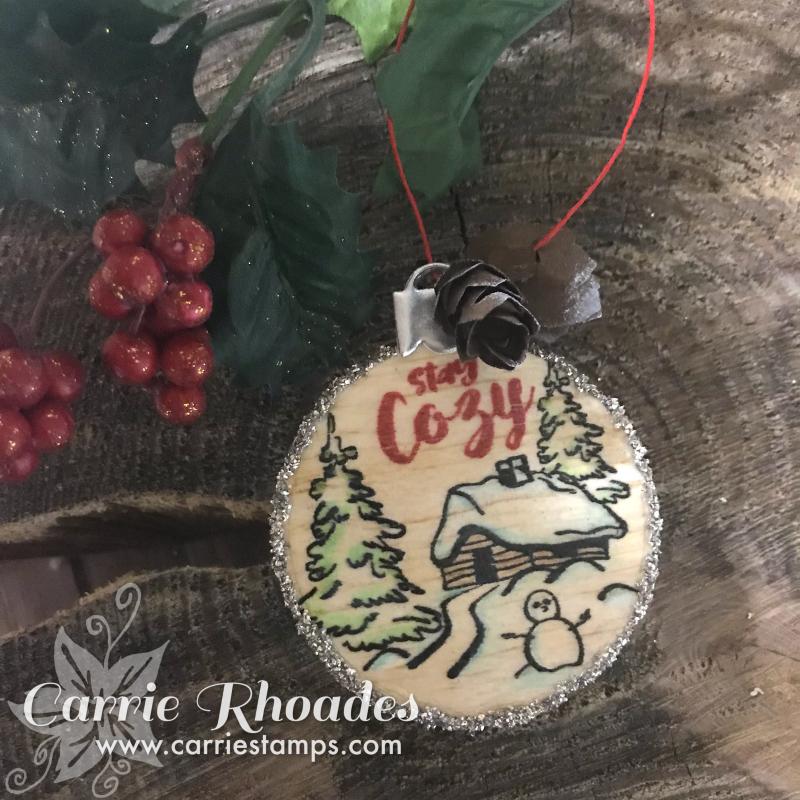 Stay cozy balsa wood ornament