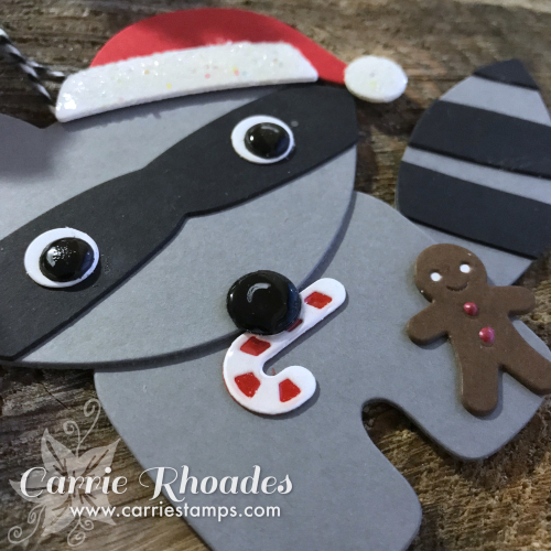 Paper raccoon ornament 2