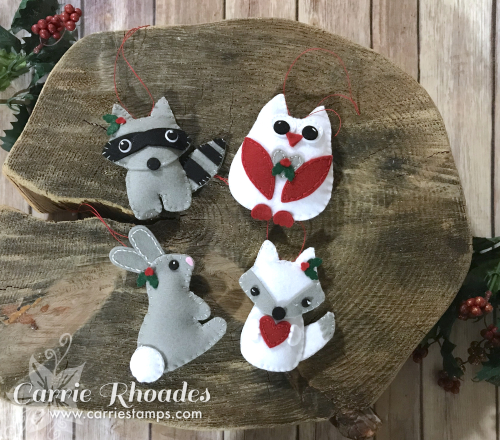 Felt woodland ornaments