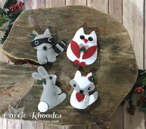 Felt woodland ornaments