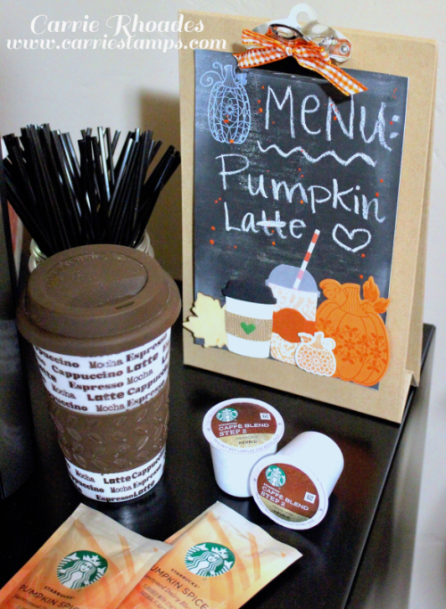 DIY Chalkboard Paper for a Clipboard Easel coffee bar sign. Visit my blog for the how too. www.carriestamps.com