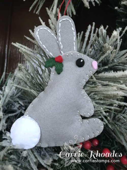 Felt bunny ornament
