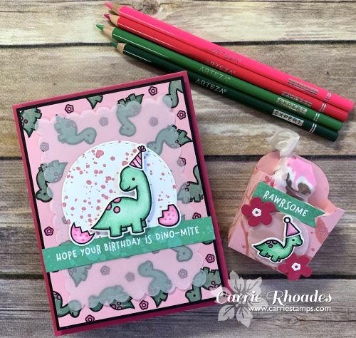Pink dinomite card cover