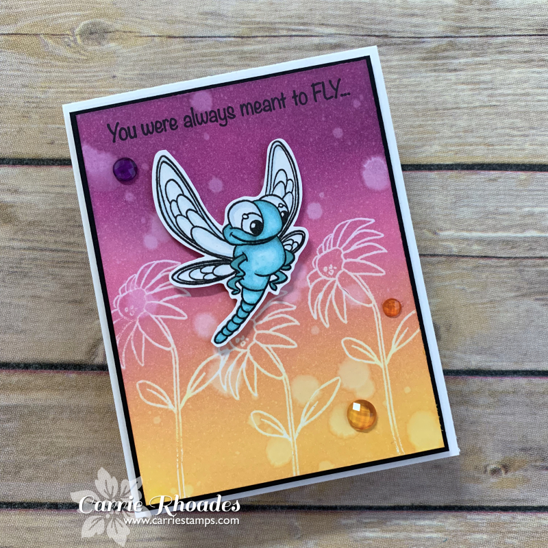 Dragonfly sunset card