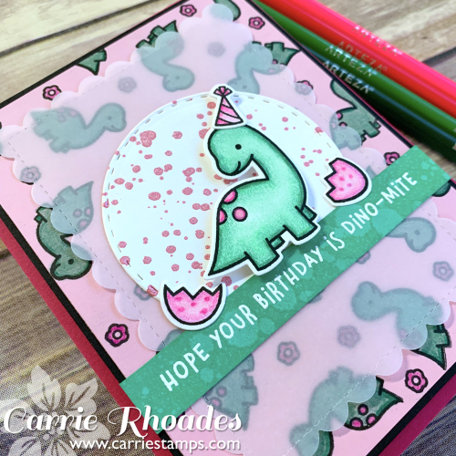 Rawrsome pink dino card 2