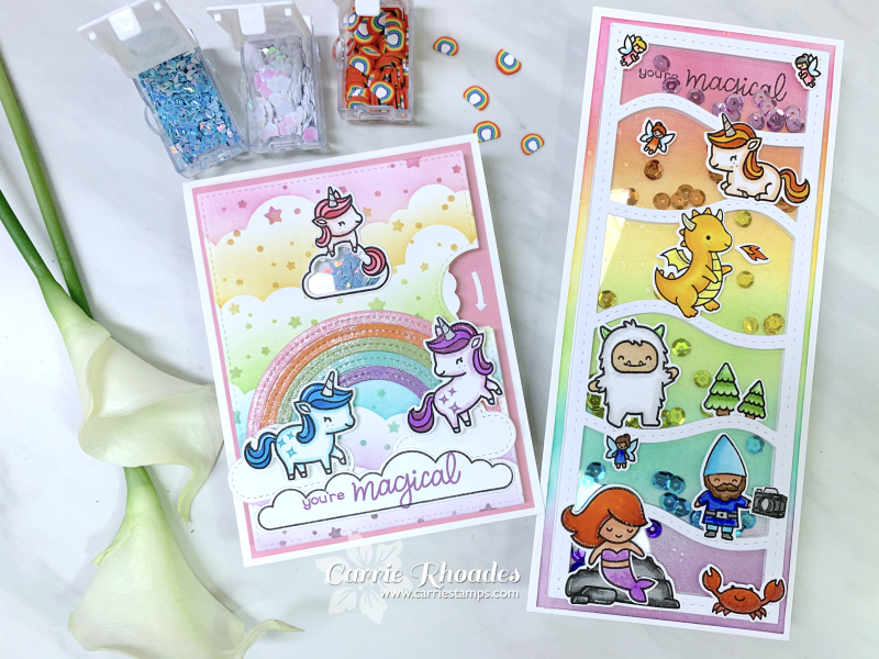 Unicorn picnic shaker cards 1
