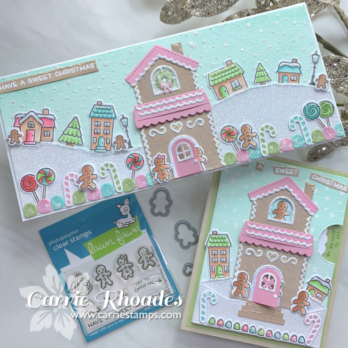 Tiny gingerbread village cards